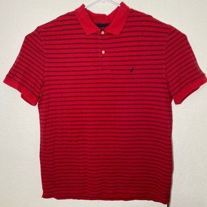 Nautica Mens XXL Red Blue Striped SS Polo Shirt